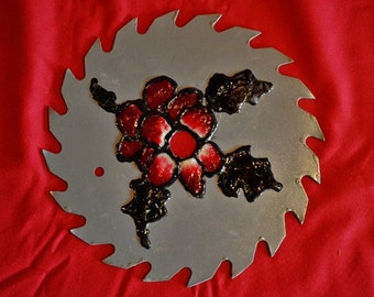 Saw Blade, Painting, Flower, Holiday, Decoration, Gray,