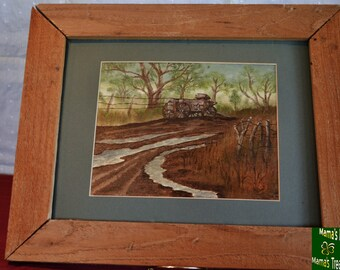 Rain, Painting, Art, Wagon, Old, Framed, Oil Paints,