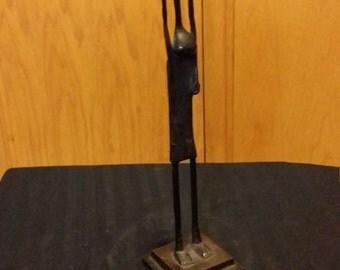 African - Vintage Bronze Statue - Unique Art Decor