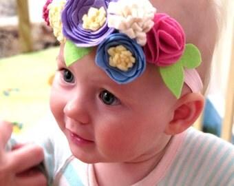 Baby Multicolor Headband - Felted Headband-1st Birthday Girl Outfit -SALE-Baby Girl EXCLUSIVE-Baby girl head accessory - Headband Flowers