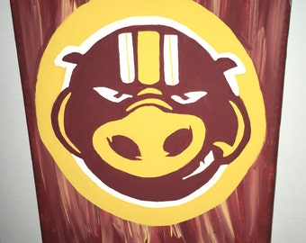 Washington DC Football Art  Burgundy, Gold HTTR Hog Old School Logo Throwback Art  Free SHIPPING