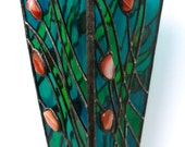 Stain Glass  Vase with carnelian. Wonderful Home Decor. Original gift.