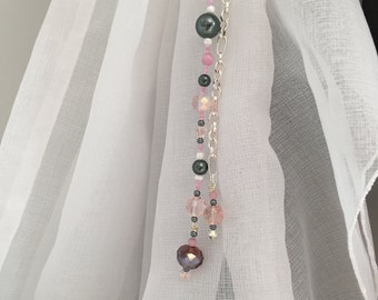 Window Jewels - Set of 2 Beaded Strands in Gray, Pink and White, Silver Colour Chain