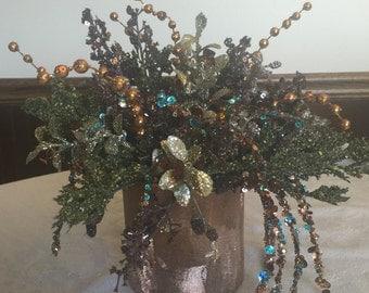 Copper and teal floral arrangement
