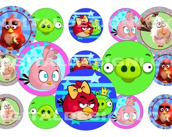 PRINTABLE Angry Birds Inspired Bottle Cap Images 1 INCH Round Angry Birds 1 image Download Printable Scrapbooking Angry Bird Party Favors