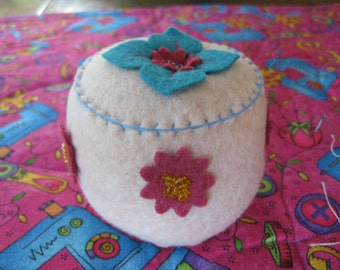 Blush Pink Wool Felt Appliqued Pincushion