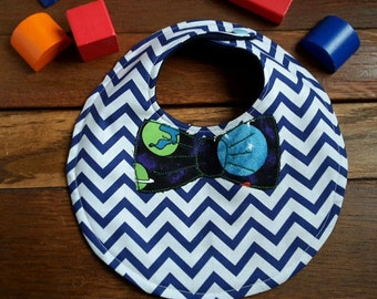 Baby dribble bib - Funky, bold, colourful bibs - Applique bow tie - Newborn baby gift - quirky baby - stylish baby gifts - one of a kind