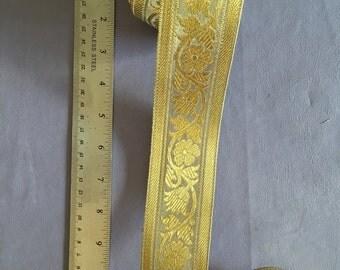 Indian haberdashery ribbon braid trim - Gold and Silver metallic threads