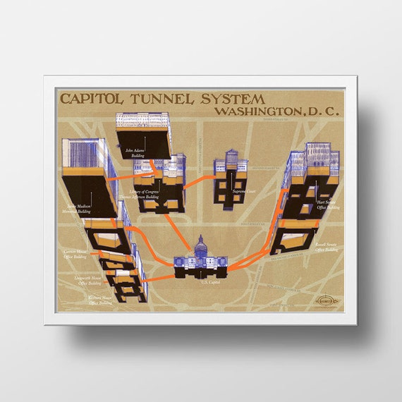 Capitol Tunnel System Postcards From Washington Dc Us Capitol Dc Architecture Reddit Ilration Politics Poster Dc Maps Map Porn