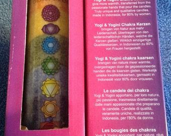 Tall rainbow chakra candle