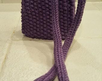 Purple knit crossbody bag