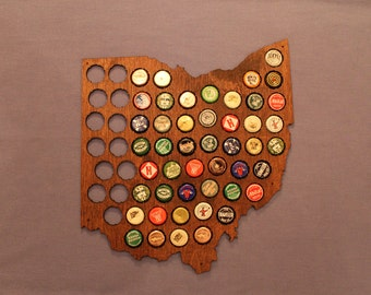 Beer Cap Map of Ohio, Large, Honey Brown finish