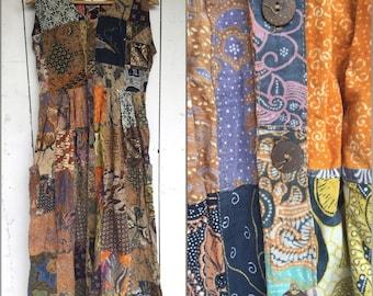 Patchwork 90s dress, 90s hippie dress,