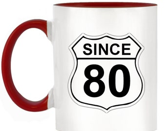 US Route 66 Roadsign 80 2-Tone Mug with matching handle and inner - 10 colours available