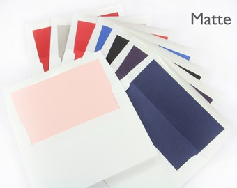 25 - A7 White Envelopes with Liner attached  - Choose from Matte, Pearlescent or Foil Liners -  No assembly required - 5 1/4 x 7 1/4