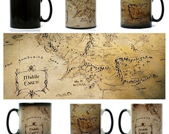 Middle Earth Map, Lord of The Rings Mug - Morph Magic Mug - Heat changing