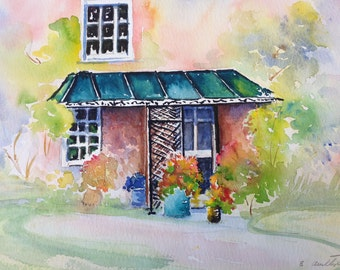 Summer Home Watercolor