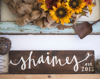 Rustic Personalized Last Name Wooden Sign