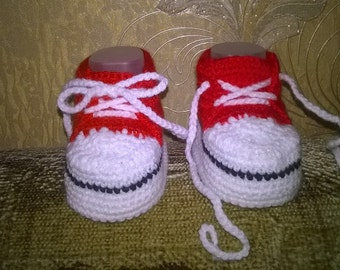 "Crocheting baby's booties ""Gumshoes"" Пинетки ""Кеды"""