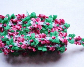 1/2 inch wide ribbon flower lace trim color as pictured selling by the yard