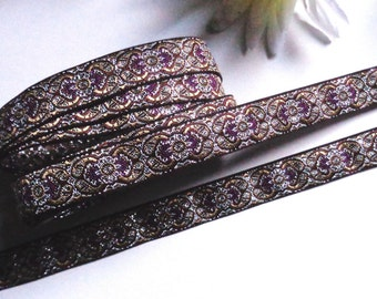 jacquard Ribbon, 1/2 inch wide selling by the yard