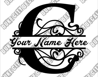 Letter C Floral Initial Monogram Family Name Vinyl Decal Sticker - Personalized Floral Name Decal