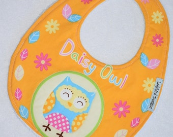 Baby Girl Bib, Girls Toddler Bib, Daisy Owl Fabric, Baby Girl Gift, Baby Shower Gift, New Baby Gift for Girls