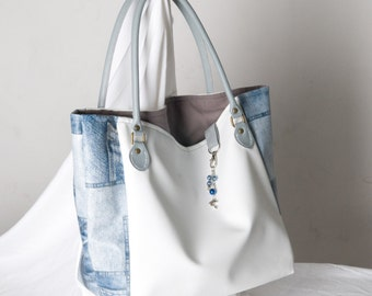 Handbag in white faux and faux jean