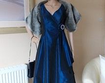FRENCH EVENING DRESS Size 8Uk, Midnight Blue Womens Clothing Dress, Taffeta & Tulle Dress Diamante Detail Rosette Dress, Vintage 1980s Dress