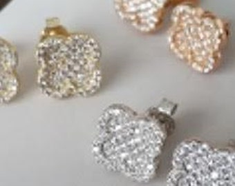 Clover earrings silver with gold plated and high quality cz