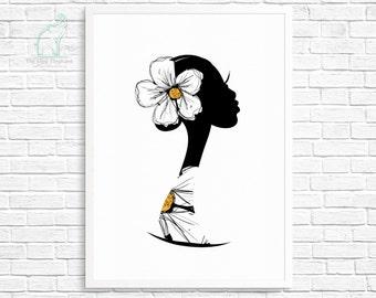 Woman silhouette printable, Woman portrait, Floral art print, Woman profile, Fashion print, Fashion girl art, Boudoir decor, Home decor
