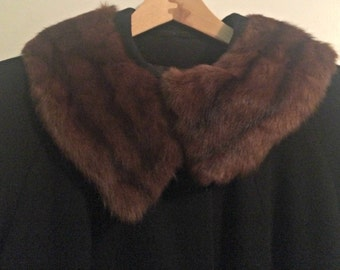 J.P. Stevens Vintage Black Wool Car Coat with Fur Collar