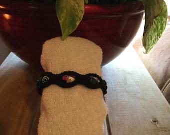 Handmade black crochet beaded bracelet