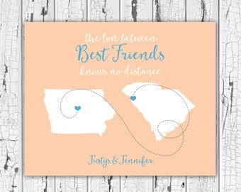 Gift for Best Friend, Friends Forever, Sorority Sisters, Goodbye Gift, Farewell, Friend Birthday, Personalized State Map, Friendship Quotes