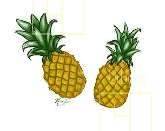 Pineapple Illustration. Printable (digital download)