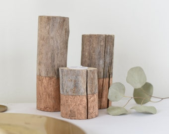 Rose Gold Driftwood Candle Holders, (Set of 3)  Gold | Rustic Wedding Decor | Tea Light | Handcrafted | Reclaimed Wood | Home and Living |