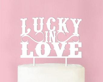 Lucky In Love Wedding Cake Topper (MICPLINLTP62-W)