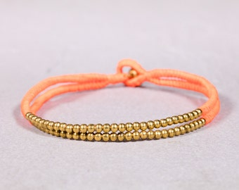 NeonOrange and Gold Anklet, Beaded anklet,Handwoven Anklet, A-3