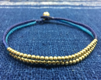 Blue Woven Anklet, Brass Beads Anklet, Ankle Band, Bohemian Anklet, Simple Anklet, A-2