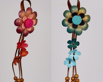 Leather Flower Keychain, Leather Purse Charm