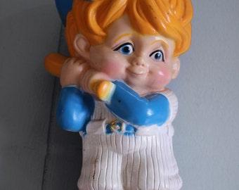 Vintage Plastic Bank - Baseball Player