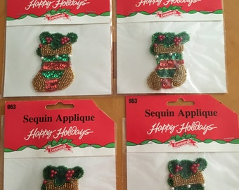 Christmas Sequin Appliques  set of 4