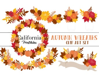 60% OFF SALE!  Autumn Fall Wreaths Clip Art Set - Set of 15 -  Autumn Clip Art - Fall Clip Art -  Instant Download - Scrapbook