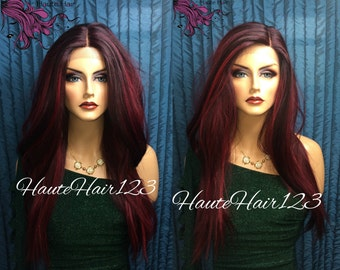 Poison Ivy Wine Ombre Multi Tone Realistic Human Hair Blend Lace Front Wig