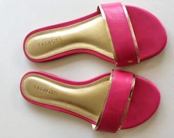 Slip on sandals pink & gold