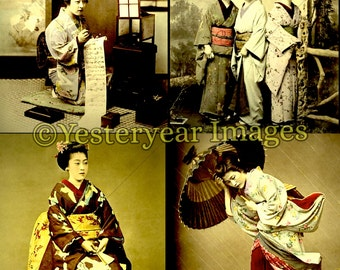 Vintage KIMBEI KUSAKABE Japanese Photographs - Printable Digital Images - Collage Sheets - Instant Download - 3 PNG Files 4x4. 2x2. 1x1