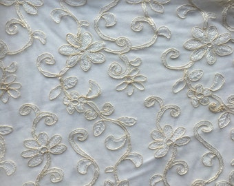 "Light IV Bridal Net Lace Fabric  46"" wide   Sold/Priced by the yard"