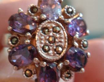 Vintage Purple Rhinestone and Marcasite Sterling Ring