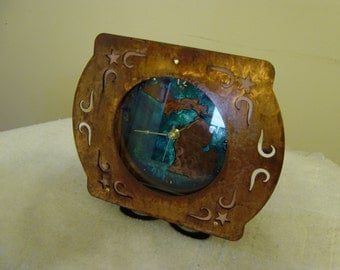 Michigan Metal Art Mantel Clock