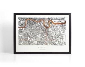 Custom London Coordinates Map - Copper Foil